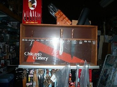 Display case from Chicago Cutlery Outlet Store