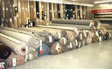 Rolls of carpets at Georgia Carpet Outlet Store