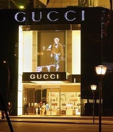 Window display of Gucci Outlet Store