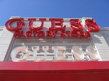 Neon signs of Guess Factory Store Outlet Store