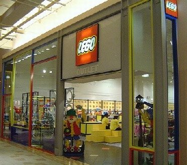 Colorful entrance to LEGO outlet store