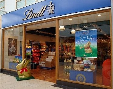 Easter bunnies and other kinds of chocolate at Lindt outlet store