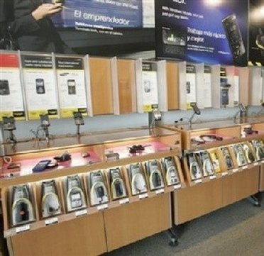 Rack of Phones inside a Nextel Outlet Store