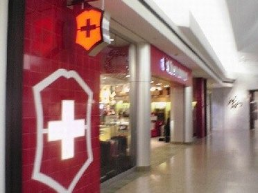 The entrance of Swiss Army outlet store