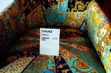 A colorful armchair from Versache outlet store