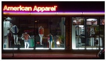 Window view of American Aparel Outlet Stores