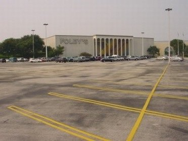 An empty parking lot outside Sears