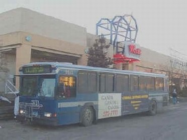 A bus outside the mall