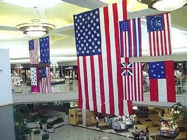 American flags inside Valley View Mall